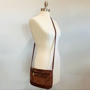 Fossil Geniune Leather Brown Crossbody Bag